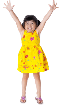 Excited young girl in yellow dress